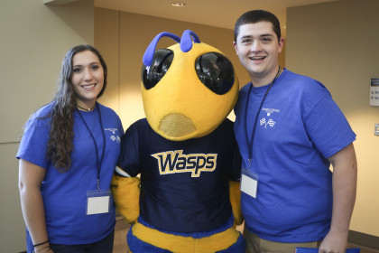 The wasp welcomes new students to campus