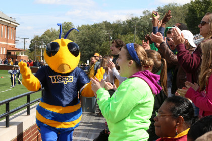 Stinger mascot and the student crowd at the football game.