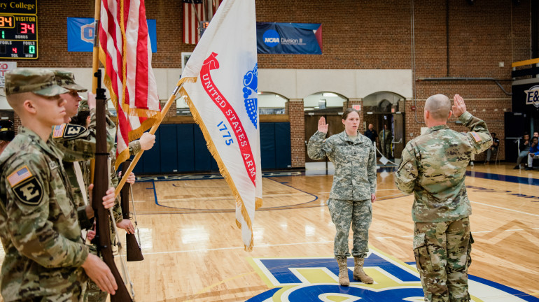 Cadet Johnston during her contracting ceremony.