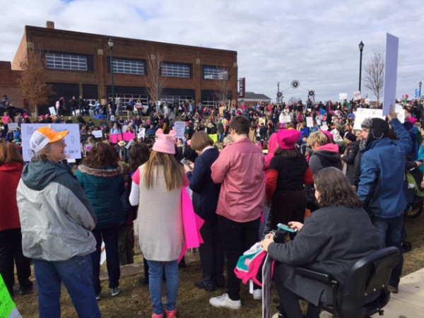 Crowd view of the Tri-Cities Women's March