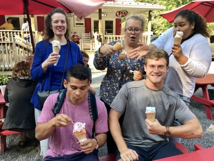 Scholars enjoy ice cream in Damascus, Virginia.