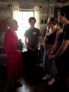 Catherine C. Larmore with Students Jacob Booth, Claire Hogg and Corey Davis, Tobias Smyth Cabin, ...