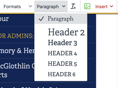 Screenshot of the headers dropdown in the editing toolbar.