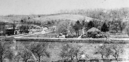 A view of Emory and Henry community in the 1890s. The J. Stewart French House is on the right.
