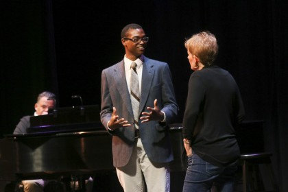 William Scott '17, works one-on-one during a master class with Tony nominee and Emmy Award winnin...