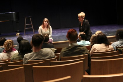 Performing artist Liz Callaway, works with student McKinley Hughes '16, during a master clas...
