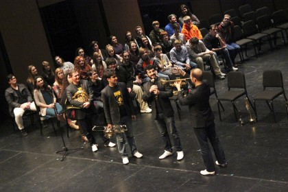Canadian Brass performs to a packed audience at the McGlothlin Center for the Arts.