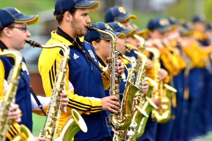 Emory & Henry's marching band has nearly doubled in size, and is the first marching band...