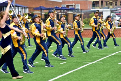Emory & Henry's marching band performs.