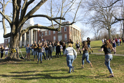 A new bid makes a run on campus for her choice sorority.