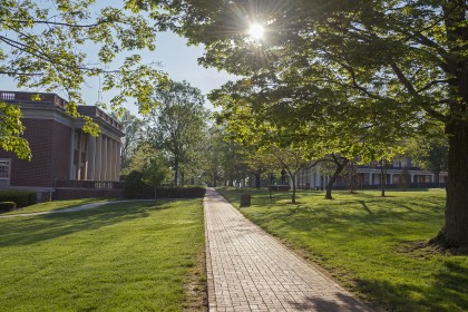 A beautiful walk to Kelly Library.