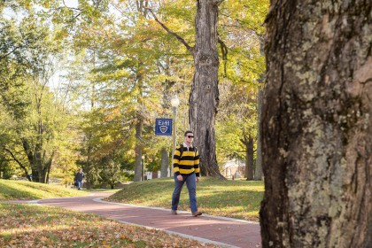 Taking a stroll through campus in the fall.