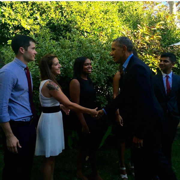 Micah meeting President Barack Obama after volunteering at an event LA.