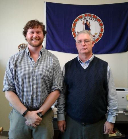 Dr. Ken Noe poses with one of his Auburn grad students, Peter Thomas (E&H, '08). In add...