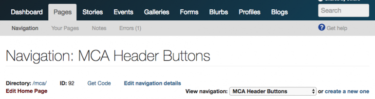 Editing the MCA header buttons navigation