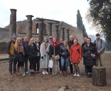 Students with Dr. Wells in Pompeii as part of an Emory Abroad course. Winter 2018.