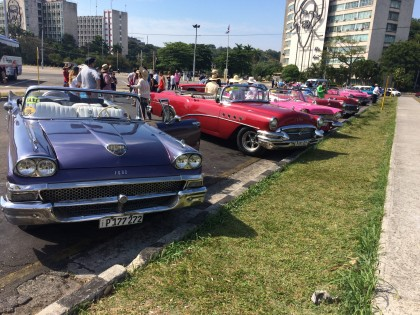 Stopping on the Cadillac tour at Plaza de la Revolución (Revolution Square), the political and a...
