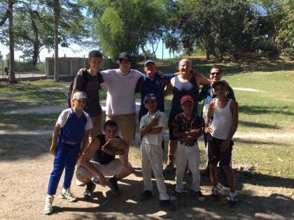 Dr. Finney and students with locals who they played baseball with at Ernest Hemingway's home.