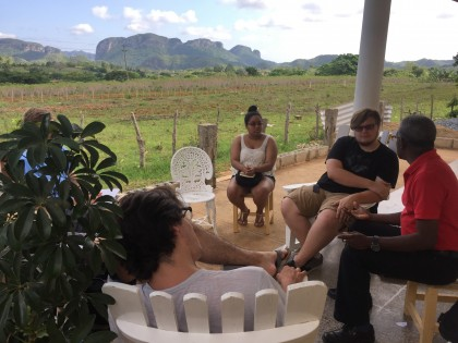 Students participating in Spanish language lessons while in Viñales, Cuba.