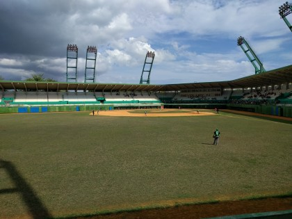 While in Cienfuegos, Cuba, students attended a baseball game at Cinco de Septiembre Stadium.