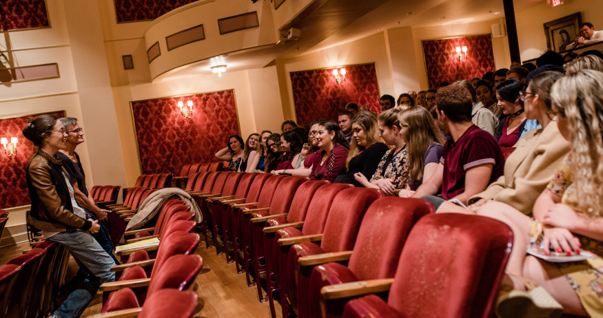 Theatre students attend a talk-back after a Barter Theatre production engaging one-on-one with th...