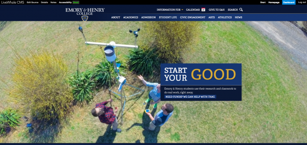 The homepage for the newly redesigned college website.