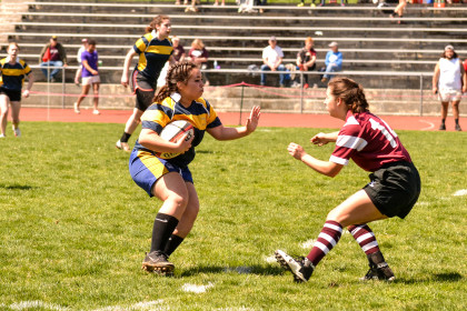 The E&H Women's Rugby team against Roanoke.