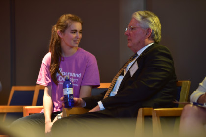 Head Ambassador Delyn Bull, '17, chatting with President Schrum.
