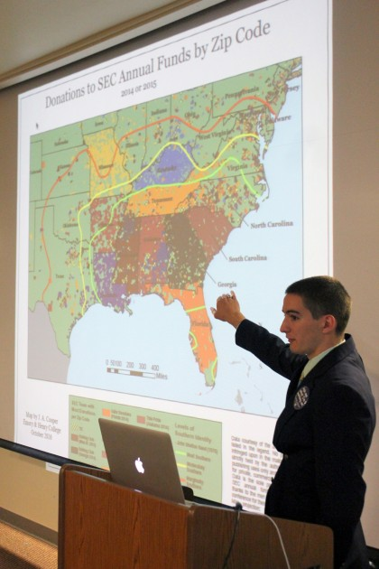 Alex Cooper '17 presents his research, All Our Teams: The Geography of SEC Fandom and Southe...