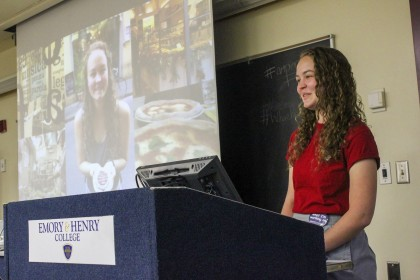 Jessica Meyer '18 presented her work about the experiences and the cultures she encountered ...