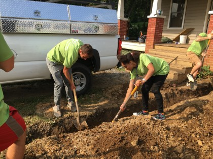 Emory & Henry students help construct a Habitat for Humanity home in Glade Spring, Virginia.