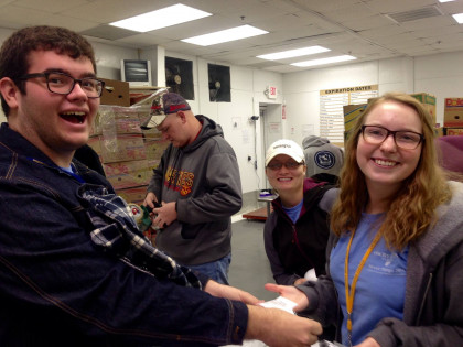 Emory & Henry students serving at a local food bank.