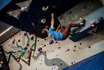 Students using the new climbing crag.