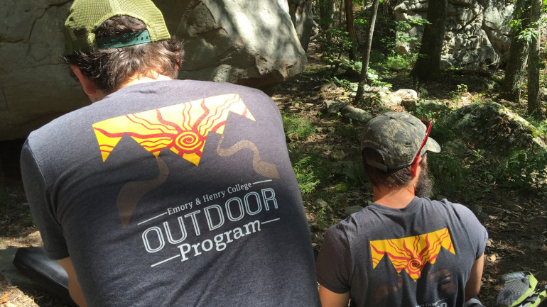 Jake Caudill, an Outdoor Program trip leader, and James Austin, a member of the Adventure Team, t...