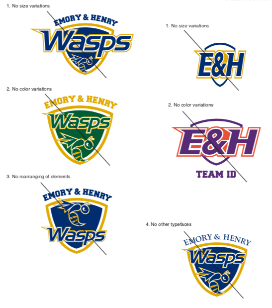 Examples of improper usage for the athletic logo.