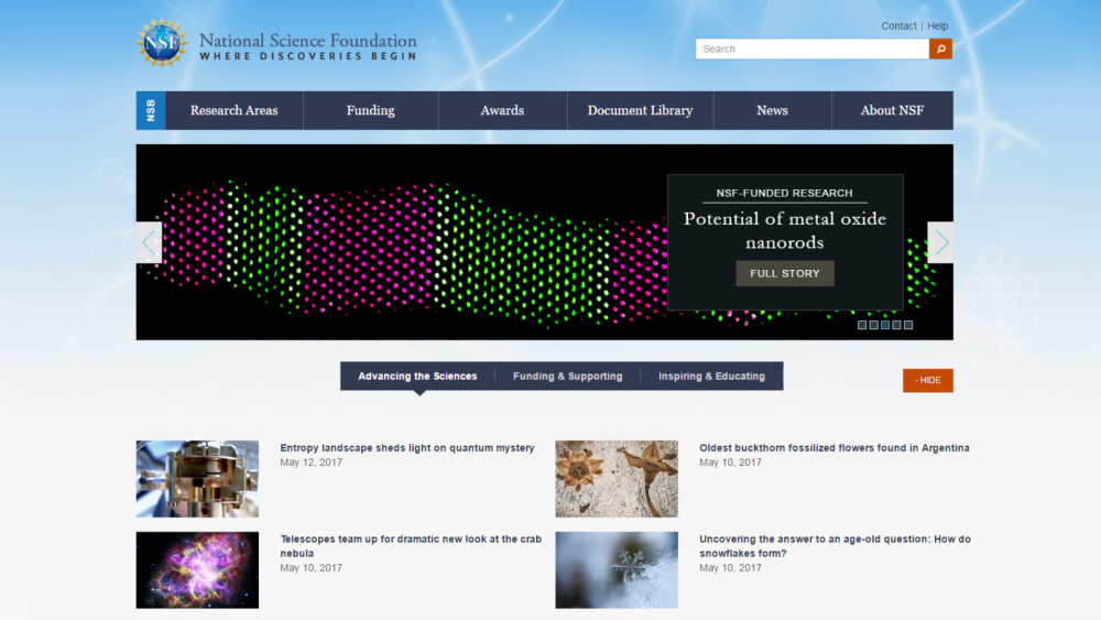 This screen shot shows Beth's work featured on the NSF webpage.