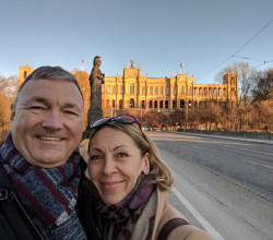 Jerry York, Class of 1984, with his fiance while visiting Bavaria.