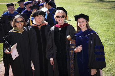 E&H Faculty prepare to march into Memorial Chapel for Founders Day ceremonies (2016).
