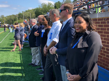 Tracy Ross beams for the camera as she and other 2019 Sports Hall of Fame inductees get ready to ...