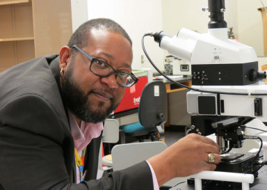 Dr. Beverly Roundtree Clark ('99) at the Clark-Shaw Lab.