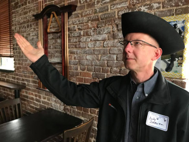 Andy Zimmerman strikes his Patrick Henry Pose at the 2018 E&H in the City event in Knoxville.