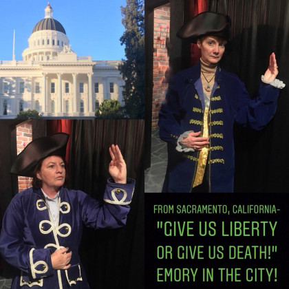 Toni Atkins and Pam Kestner stole the show with their Patrick Henry Poses!