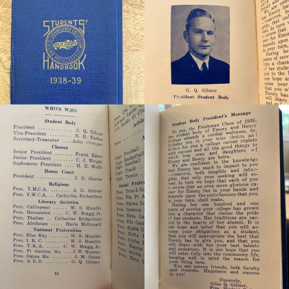 From Karen Gilmer '02: It's my grandfather's students' handbook from the year he was Stu...