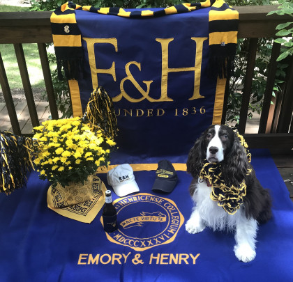 CONTEST WINNER! From  Betsy Hulcher '68: Ellie Beth is Game Ready to Cheer with a Beer! WOOF!!