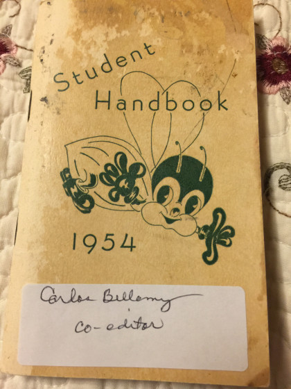 Jane Reynolds Bellamy, E&H '56, shared a pic of her late husband's student handbook.