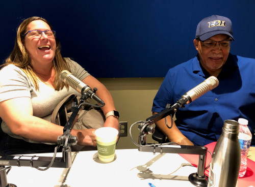 Catalina Cortes (board member at Copey Learning Center) and Scrapper Broady in the WEHC-FM studio...