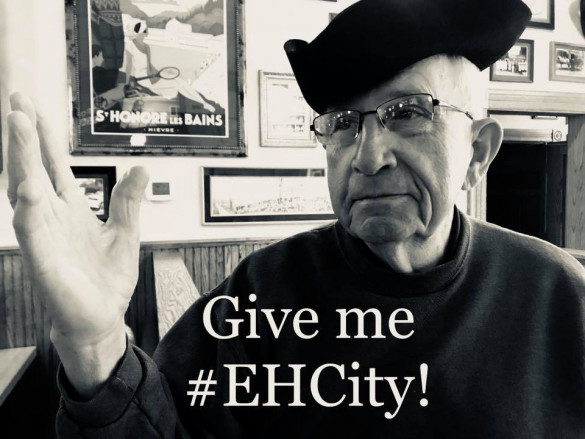 Henry Dawson promoting E&H in the City 2018.