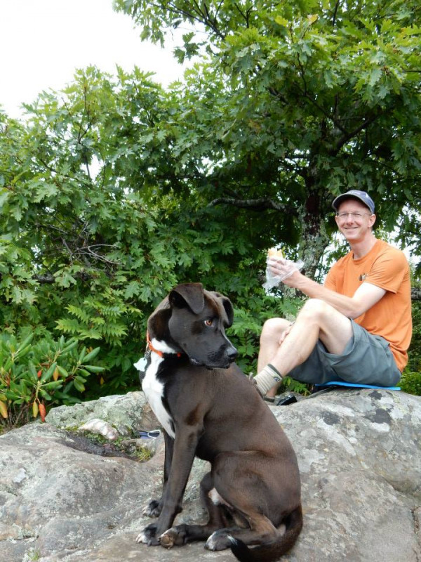 Andy Zimmerman, E&H Class of 1990, with his dog, Walter.