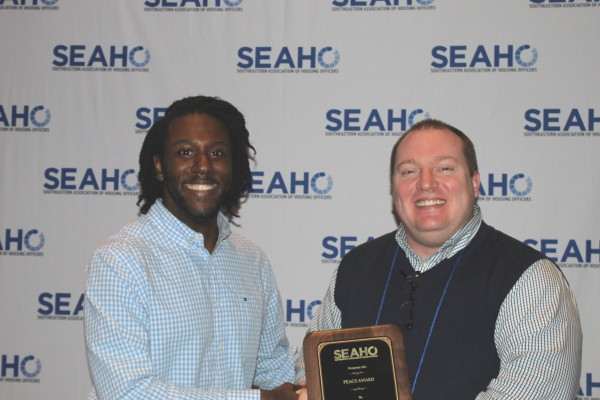 Josh von Castle receives Peace Award at annual SEAHO conference.