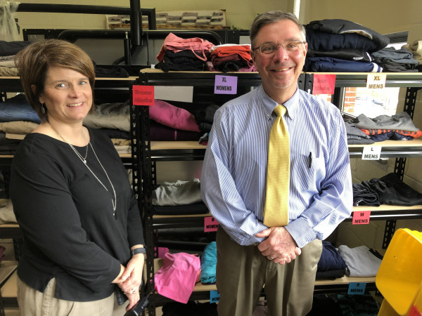 Chilhowie High School Vice Principal Kelly Russell and Principal Rocky Baker in the CHS clothes c...